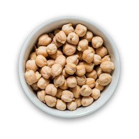 Raw and cooked chickpeas